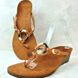 Vionic Orchid Women's Wedge Sandals Brown Leather